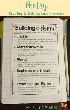 Building a Poem Writing Notebook Anchor Chart, Reading and Writing the Language of Poetry Unit Resources, Notebook Charts, Large Anchor Charts/Slides for Teaching, Revision Checklists, Rubric