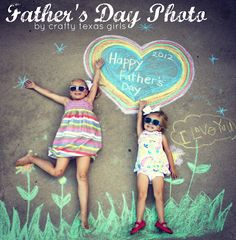 Father's day gift idea: Draw with chalk & pose for a pic on his desk at work!