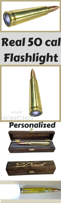 50 cal flashlight - made with a real bullet - great gift for men! with a personalized gift box