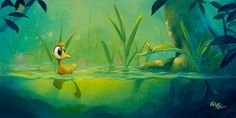 Rob Kaz - Friends at First Sight 12x24 - original oil on canvas painting