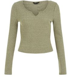 Khaki Fine Knit Notch Neck Crop Top