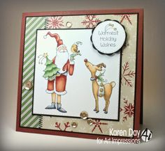 Art Impressions: Holiday Wishes Set (Sku #4516): Handmade Christmas card with Santa and reindeer.