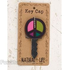Kikkerland Design PEACE SIGN Key Covers Caps choice Pink,Green or Black /& White