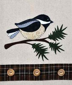 Chickadee & Evergreen ~ Wooden Bear Quilt Designs ~ Applique Pattern ~ tea towel in Crafts,Sewing & Fabric,Quilting | eBay
