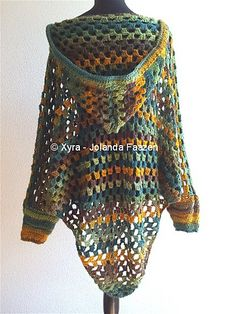 Ravelry: PATR1030 - Poncho with sleeves and hood pattern by Jolanda Faazen