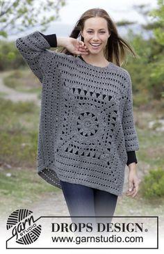Gehaakte trui met gehaakt vierkant en kantpatroon. Maten S - XXXL. Het werk wordt gehaakt in DROPS Nepal. Gratis patronen van DROPS Design.