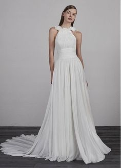 9bd041199159 Magbridal Pretty Chiffon Halter Neckline A-line Wedding Dress With  Handmakde Flowers