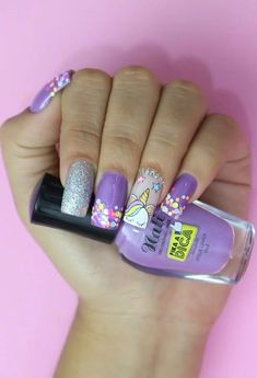 uñas lila y plata unicornio - All For Hair Color Trending Silver Nails, White Nails, Red Nails, Color Nails, Hair Color, Unicorn Nails Designs, Unicorn Nail Art, Acrylic Nail Designs, Nail Art Designs