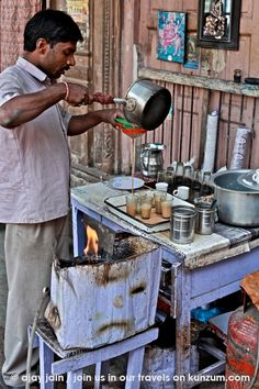 A street tea seller near Lal Mandir (a Jain temple) in Chandni Chowk in Old Delhi, India. For more, read Ajay Jain's pictorial travelogue 'Delhi 101' - http://kunzum.com/delhi101. Join us in our travels at Club Kunzum - http://kunzum.com/club. And do drop in for a coffee at the Kunzum Travel Café - http://kunzum.com/travelcafe.