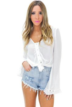 HARPER BUTTON-UP BELL SLEEVE TOP - White