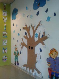 Christmas Art For Kids, Diy Felt Christmas Tree, Winter Crafts For Kids, Christmas Door Decorations, School Board Decoration, Winter Clipart, Murals For Kids, Kindergarten Crafts, Winter Trees