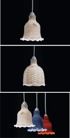1 and 3 are Crochet Lampshades. 2 is Knitted Lampshade. These 2 types of Lampshade are designed by Tim Denton and Johanna Van Daalen Lampe Crochet, Crochet Lampshade, Wire Crochet, Knit Crochet, Doily Lamp, Lampshade Chandelier, Crochet Decoration, Crochet Home Decor, Doilies Crafts