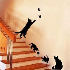 Cat play Wall Sticker Butterflies Stickers Decor Decals for Walls Vinyl Removable Decal/Wall Murals – Home decor
