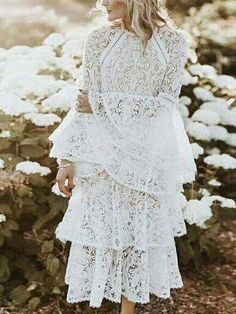 Sheinstreet Spring and Summer Lace Flared Sleeves Tiered Falbala Midi Dress White Midi Dress, Midi Dress With Sleeves, Skater Dress, Sleeved Dress, Dress Outfits, Casual Dresses, Midi Dresses, Lace Dresses, Dress Lace