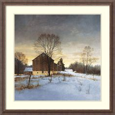 Give your wall a rural vibe when you hang this framed landscape art print by artist Ray Hendershot. This work of art, entitled Breaking Light, depicts a lone homestead surrounded by snow and is framed in a rustic wooden frame for added visual appeal.