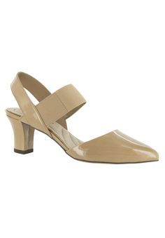 These pointed toe pumps offer sophistication and stylish support for a look that will show off your feminine flair. PU and elastic upper Stretch Beige Pumps, Women's Pumps, Stylish Plus Size Clothing, Plus Size Outfits, Comfortable Dress Shoes, Shoe Size Chart, Dress And Heels, Pointed Toe Pumps, Womens High Heels