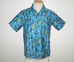 Vintage 1950s 1960s Shirt / 50s 60s Blue Hawaiian Shirt / 50s 60s Hawaiian Pineapple Shirt - Made In Hawaii - M by SayItWithVintage on Etsy