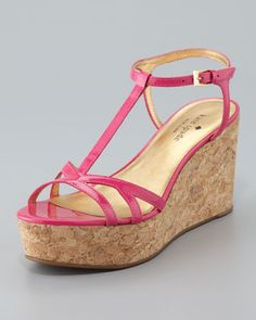 theodora cork wedge sandal, pink by kate spade new york at Neiman Marcus.