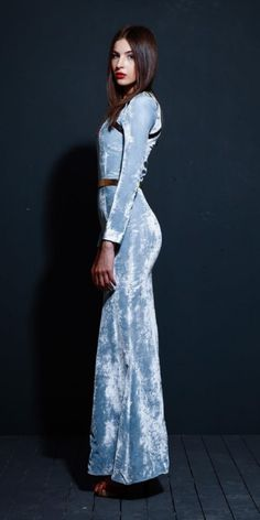Amritsari Blue Silk Velvet Evening Gown | Amritsari | TROVEA
