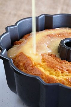 Orange Juice Cake - Southern Bite  Backen This recipe for my super easy Orange Juice Cake starts with a simple cake mix but turns into something amazing when you soak it in a delicious orange juice glaze!