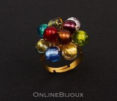 Inel handmade, placat cu aur de 24 k. Pietre: sticla Murano. Culori: multicolor.