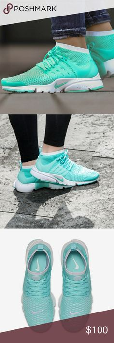 Nike Air Presto Flyknit Ultra BNIB, never been worn outside. Hyper turquoise/white. Color most likely resembles photos #2-6. Full-on Nike Flyknit construction, elevated collar and a lightweight Nike Ultra sole, this shoe is perfect for the summer. Open to reasonable offers. Nike Shoes Athletic Shoes