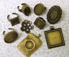 9 Brass Rings and Pendants antiqued Bronze Blank