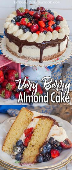 Delicate and delicious berry almond cake made with fluffy almond cake layers, loads of fresh berries and an almond German buttercream! Winter Desserts, Christmas Desserts, Mini Cakes, Cupcake Cakes, Cupcakes, Mascarpone Cake, Tatyana's Everyday Food, Russian Cakes, Gourmet Cakes