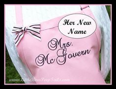 Bridal Shower Gift Ideas- Mrs Apron  Her New Married Name  by bowpeepaprons, $27.95