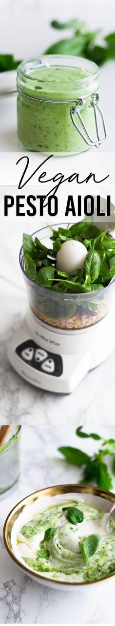Delicious homemade Vegan Pesto Aioli - made with Aquafaba Mayonnaise. #vegan #basil #pesto #aioli #aquafaba #chickpea #mayonnaise #plantbased #dairyfree #eggless #healthy #simple #quick #cheap #veganrecipes