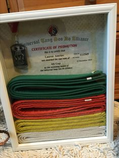 Karate belt holder and display case