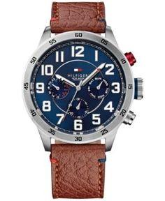 cdca53d6180 Tommy Hilfiger Men s Brown Leather Strap Watch 46mm 1791066. Relógios De  LuxoCouro MarromRelógios MasculinosJoalheriaHomens NamoradoPainelNatalTimberland