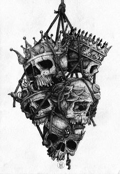 """""""Whose execution takes your enemy off, Grapples you to the heart and love of us, Who wear our health but sickly in his life, Which in his death were perfect."""" - Macbeth (3.1.104). Macbeth has killed many people and in a way this image is a representation of his actions, a pile of skulls some of kings or kings to be, I can easily imagine these hanging from Macbeth's bridle. He is to be admired to some extent because he is not afraid of doing the dirty work himself."""