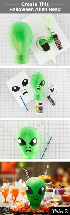 Craft an alien head that's out of this world and perfect for your party. All you need is a Styrofoam® head, craft paint and sparkly chenille stems for antennae. Get it all at Michaels!