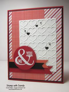 Stamp With Sandy: Me & You Valentine, Perfect Pennants Stamp Set, Happy Heart Embossing Folder, Stampin' Up