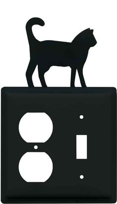 Cat Black Light Switch Plates, Outlet Covers, Wallplates