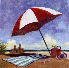 beach scenes to paint | art prints, posters, beach scene with umbrella, blanket & sand castle ...