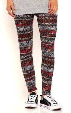 Deb Shops Vintage Tribal Print Leggings $8.00
