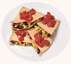 Black Bean  Zucchini Quesadilla Ingredients 1 cup chopped zucchini 1/2 cup canned black beans, rinsed and drained 2 teaspoons olive oil 1 teaspoon cumin 2 whole wheat tortillas 1/4 cup shredded cheddar cheese 2 tablespoons salsa
