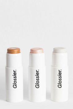 Three shades of Haloscope—the universe's first dew effect highlighter. In golden Topaz, pearlescent Quartz, and opalescent Moonstone