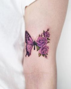 Little Tattoos, Mini Tattoos, Rose Tattoos, Body Art Tattoos, Small Tattoos, Rose And Butterfly Tattoo, Butterfly Tattoo Designs, Mommy Tattoos, Sister Tattoos