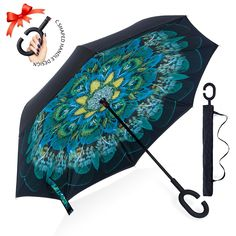 Colorful Of Roese Flowers And Emotion Sturdy Windproof And UV Protection Compact Travel Umbrella For Women Men Double Layer Inverted Umbrella Cars Reverse Umbrella With C-Shaped Handle