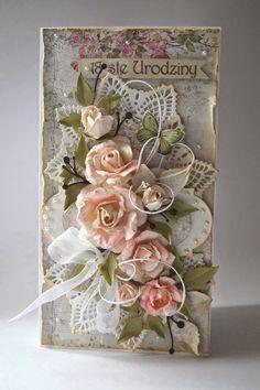 Kartkowy Świat Gosi, card with handmade paper flowers, halfpearls, organza bow