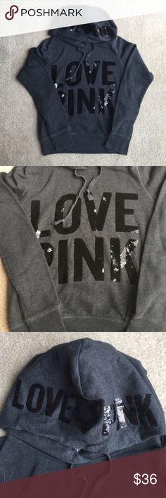 Victoria's Secret PINK dark grey sweatshirt xs Worn twice in great condition,slightly peeling,❌NO TRADE‼️ PINK Victoria's Secret Tops Sweatshirts & Hoodies