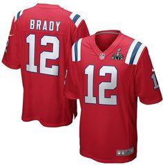 Men s NFL New England Patriots  12 Tom Brady Red Super Bowl XLIX Bound Game  Jersey 2f6d385c1