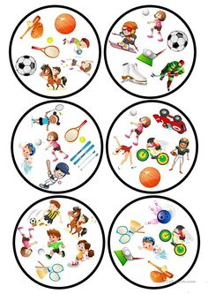 Sports Dobble game worksheet - Free ESL printable worksheets made by teachers Printable Worksheets, Printables, Teaching Nouns, Double Game, Sports Games, English Lessons, Math Games, Teaching English, Teaching French