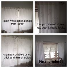 Rather than buying new curtains, I decided to recycle some I already had on hand - using Sharpies! What do you think? Thick And Thin, Sharpies, Curtains, Cool Stuff, Home Decor, Blinds, Decoration Home, Room Decor, Interior Design