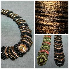 """""""Midnight Ripples"""" - Tutorial for a necklace and bracelet  http://www.artfire.com/ext/shop/product_view/patrickduggandesigns/10040651"""