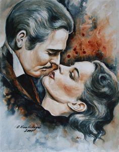 Olga Vinnitskaya. Hollywood. Aquarell mit Airbrush Farben + Kreide auf Papier.