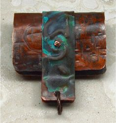 Hand Forged Rustic Copper Bail  DIY jewelry making by SunStones (Craft Supplies & Tools, Jewelry & Beading Supplies, Findings & Hardware, handmade, findings, artisan, copper, component, rustic, do it yourself, DIY, necklace, pendant, bail, verdigris, blue)